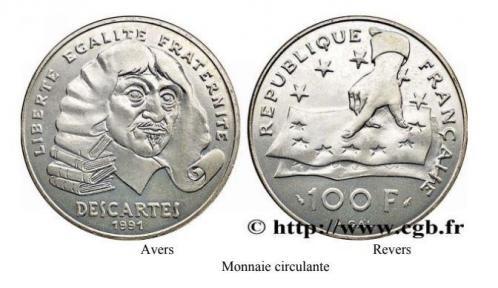 100f descartes 1991 monnaie circulante